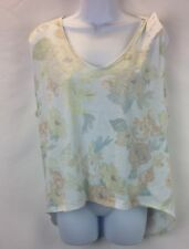 We The Free Womens White Faded Floral High Low Shirt S