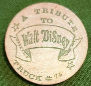 Vintage 1968 Tribute to Walt Disney Wooden New Orleans Mardi Gras Doubloon Token