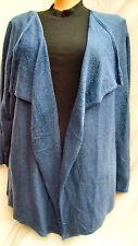 Autograph BLUE soft open drape waterfall Lg sleeve cardigan jumper XL 22 24 26