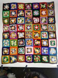"Vintage Granny Square handmade Afghan Sofa Throw Crocheted Roseanne 48"" X 55"""