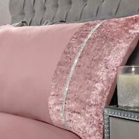 Sienna Lorenza Duvet Cover Bedding Set Diamante Blush Single Crushed Velvet 1500
