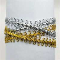 Costume Gold Silver Fabric Braided Ribbon Centipede Lace Trim Stage Decor