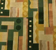 CLARENCE HOUSE ELLINGTON GREEN GEOMETRIC ABSTRACT LINEN VELVET FABRIC 1.3 YARDS