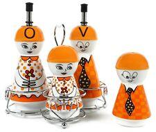 Orange Ceramic Oil and Vinegar Dispensers, Salt and Pepper Shakers Cruet Set