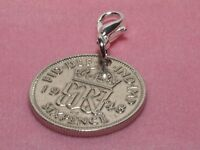 TANNER COIN DROP EAR RINGS 1963-56th BIRTHDAY SIXPENCE