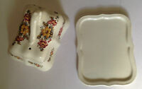 Arthur Wood CHEESE DISH Cream with Floral Roses Pattern No:5696  Vintage  Retro