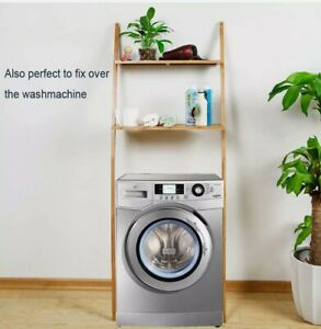 Toilettenregal Waschmaschinenregal platzsparendes Badregal aus Bambus Bad WC