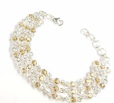 CITRINE GEMSTONE 925 STERLING SILVER BRACELET ROUND CUT GOLDSMITHS UK HALLMARKED