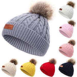 Toddler Kids Baby Winter Beanie Hat Boys Girls Knit Fur Pom Pom Warm Bobble Caps