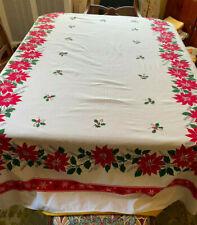 Vintage Christmas Poinsettia Tablecloth Cotton Linen 58 x 82, Laundered