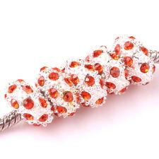Fashion 5pcs Silver CZ nest big hole Beads Fit European Charm Bracelet DIY #D91
