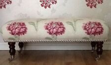 A Quality Long Footstool In Laura Ashley Ruskin Raspberry Fabric