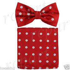 New Brand Q formal Men's Pre-tied Bow Tie & Hankie red white dots wedding