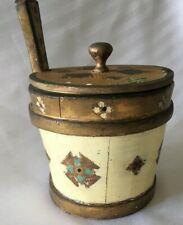 VTG Italy Florentine Ice Bucket Butter Biscuit Barrel Ivory Guilt Wood Tole Box