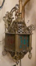 Pair/Moroccan Tooled Brass Filigree Wall Lanterns w/Brackets working multicolor