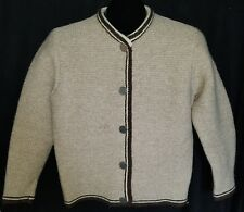 Vintage LODEN FREY Size 38 US 8 M Knit Sweater Cardigan Brown Beige Coin Button