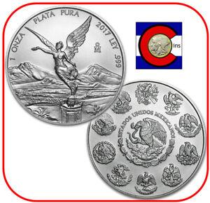 2017 Mexico Libertad 1 oz BU Mexican Silver Coin in direct fit capsule