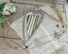 Holzherz Herz grau mit Streifen Hänger Landhaus Country Shabby Deko rustikal