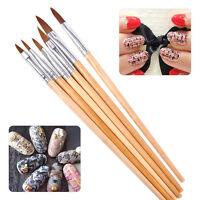 6pcs Nail Brush Pen Carving Drawing Painting Acrylic Liquid Powder Art Tool New