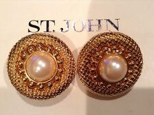 ST JOHN COLLECTION..DESIGNER JEWELRY..EARRINGS..CLIP-ON..FAUX PEARL/GOLD TONE