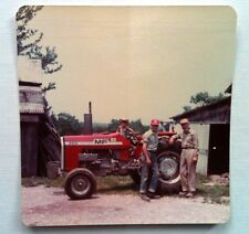Vintage 70s Photo Two Men Nephew w/ Cowboy Hat Posing With Tractor Outside Barn