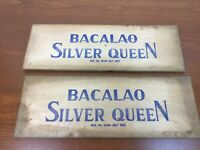 2 Vtg Antique Wood Crate Plank Bacalao Silver Queen 1933 SIGN (Cod Liver Oil)