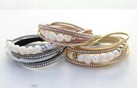 Wrap Crystal & Freshater Pearl Bracelet Pu Leather Magnet Bracelets Bangles