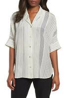 Size S M $218 NWT Equipment Adalyn Silk Shirt Blouse Peacoat Navy
