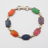 Vintage Gold Tone Coro Multi Semi Precious Stone Scarab Link Bracelet  6.5 Inch
