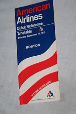 Vintage American Airlines Boston Quick Reference Timetable Sept.  15, 1973