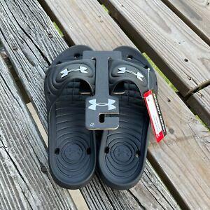 NWT Under Armour UA Mens Black Waterproof Locker IV Shower Sandel Slides Sz 12