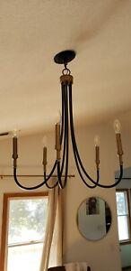 Motini 5-Light Modern Farmhouse Chandelier, Black & Gold