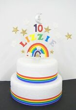 Rainbow, Star,  moon and cloud Personalised Birthday Cake Topper / decoration