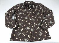 Vintage Lucky Winner Pussy Bow Brown Blouse Top Medium M Large L Paisley Floral