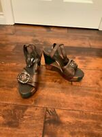 "Coach Brown ""Kayle"" Multicolor Patchwork Leather Wedge Platform Heels, Size 6"