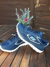 Beautiful Skechers Navy Blue Silver Running Trainers Memory Foam Size UK 5