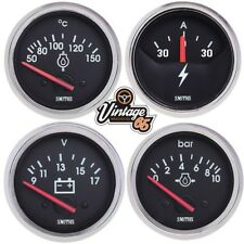 Smiths Classic Car Chrome 52mm Oil Temp & Pressure Fuel Level Voltage Gauge Set