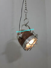 Modern Nautical Industrial Pendant Lamp Wooden Hanging Light Ceiling