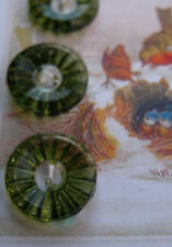 "Set of 4~ Vintage 3/4"" Leaf Green  2 hole Crystal Glass Buttons~old stock"
