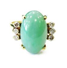 18k Yellow Gold Oval Jade & Diamond Ring ~ 5.4g