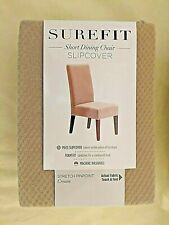 SUREFIT ~ Short Dining Chair Slipcover ~ Stretch PinPoint (Cream)