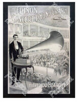 Historic Edison phonographs Advertising Postcard