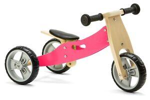 Nicko NIC806 Pink Mini Convertible Wooden Balance Bike Toddler Trike 18 months+