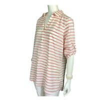 L.L. Bean Womens Cotton 3/4 Sleeve Roll-Tab SplitNeck Tunic Red/White Striped  L
