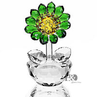 Handmade Green Crystal sunflower Figurine Glass Xmas Wedding Gift Ornaments