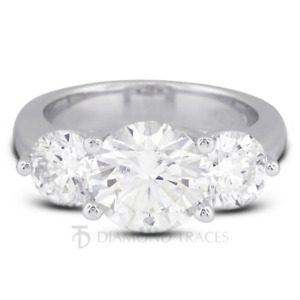 3.88ct E-SI1 Round Natural Certified Diamonds 950 Plat. Classic Engagement Ring