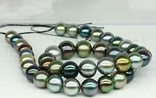 """18""""11-13mm Tahitian genuine black peacock red green multic round pearl necklace"""