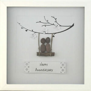 Personalised Pebble Art Picture Gift Framed Wedding Anniversary Engagement Pair