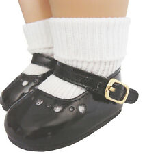 Black Patent Mary Jane Shoes & Ankle Socks works for American Girl Molly Doll
