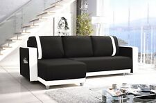 New Corner Sofa Bed With Storage Faux Leather Black White Ikea Naroznik Sofas